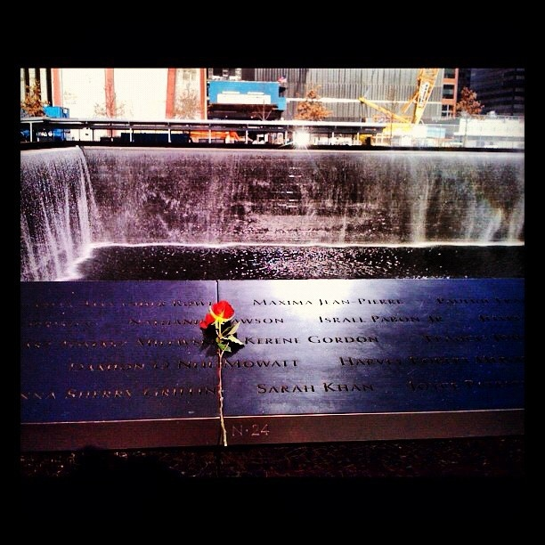 A rose lies in remembrance at the South Tower of the World Trade Center , New York
