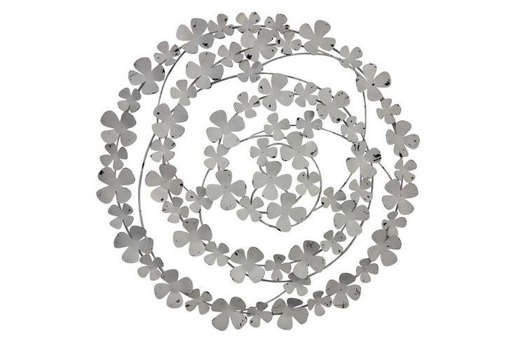 Home :: Metal Wall Art :: Flowers, Leaves & Trees :: Frangipani Metal Wall Art Off White