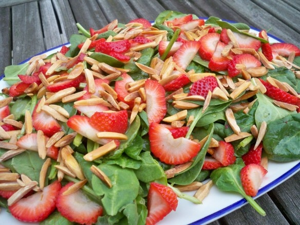 Spinach Salad with Sliced Strawberries and Toasted Almonds in a Honey ...