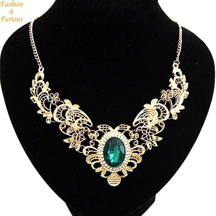 Gold Plate Hollow Out Crystal Statement Necklace Women Vintage Necklaces & Pendants Jewelry Colar For Gift Party - free shipping worldwide