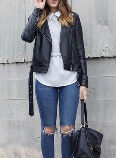 black moto jacket outfit; casual date outfit, ripped skinny jeans