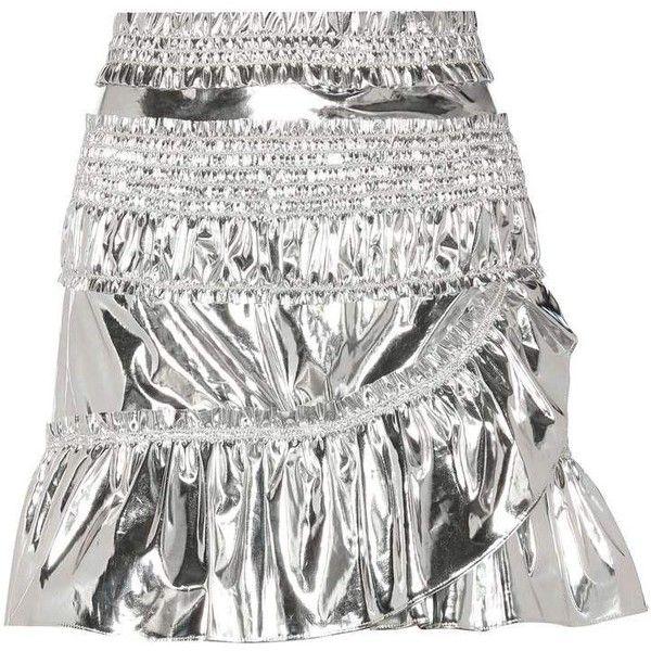 Isabel Marant Jeanne Metallic Skirt (675 CAD) ❤ liked on Polyvore featuring skirts, isabel marant, metallic skirt, white knee length skirt, isabel marant skirt and silver metallic skirt
