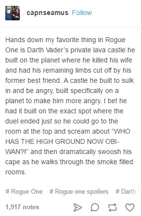 "#rogueone #sw This is alarmingly exactly what I thought, down to ""who has the higher ground now ?!"""