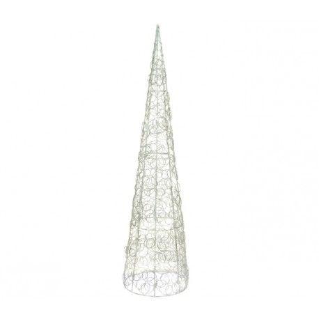 Como adornar la casa en Navidad, con este mágnifico arbol navideño cónico, elaborado en hierro pintado.      Hoja plateada     Ancho: 20 cm     Largo: 20 cm     Alto: 80 cm     Color: Plateado con blanco     Fabricado a mano