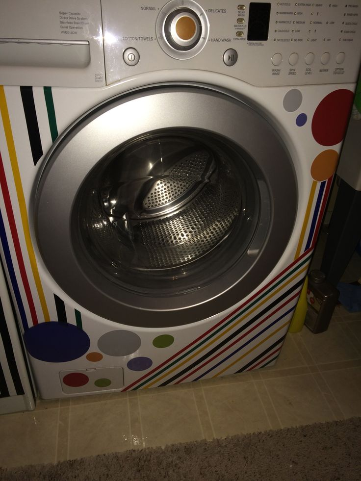 My washer and dryer stripes are made with electrical tape the circles were vinyl
