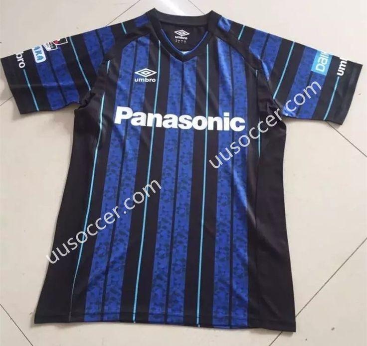 2017-18 Gamba Osaka Home Blue and Black Thailand Soccer Jersey AAA