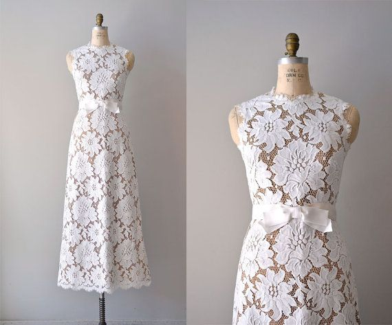 vintage lace wedding dress / 1960s wedding gown / by DearGolden, $625.00 Maybe even with a black velvet belt.