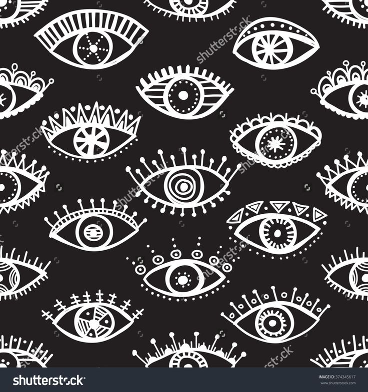 Hand drawn indian ethnic tribal eyes fashion black and white trendy seamless pat…