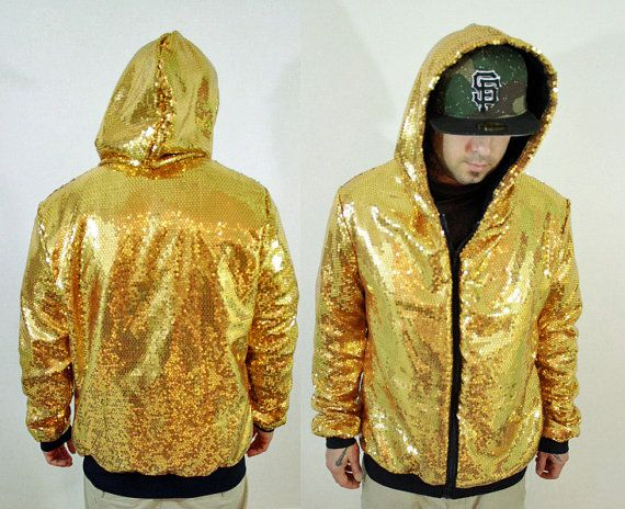 mens gold sequin hoodie sweatshirt by blissbus on etsy