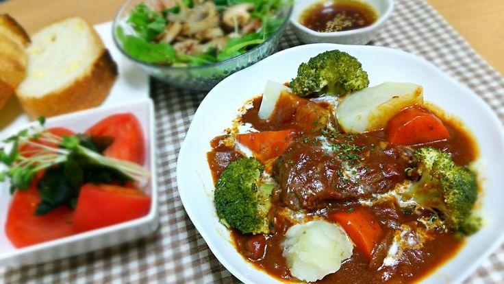 Rie's dish photo ビーフシチュー | http://snapdish.co #SnapDish #レシピ #お誕生日 #晩ご飯 #パーティー #クリスマス #シチュー