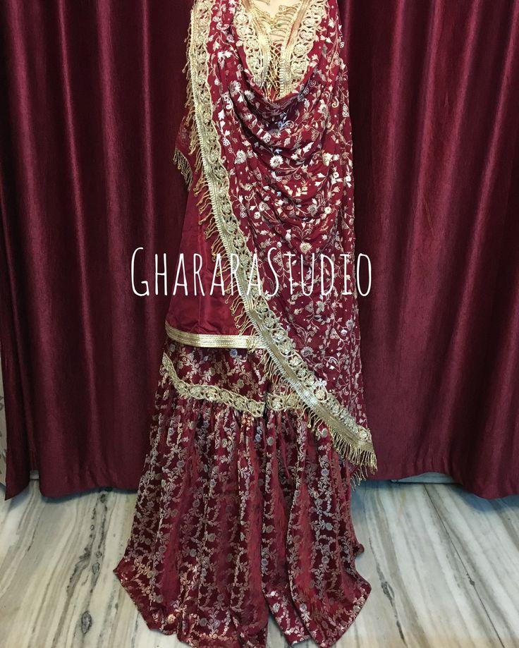 Bridal Gharara in Maroon with handcrafted embroidery.   #gharara #ghararastudio #ghararastudiobyshazia #greengharara #kamkhwabgharara #kimkhaab #bridal #wedding #nikah #zari #cutworklace #embroidery #fashion #instafashion #fashiongram #fashionblogger #fashionblog #fashiondiaries #fashionstyle #fashiongirl #fashionpost #indianfashion #indianwedding #muslimahfashion #bridalgharara
