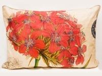 Cojín lino botánico - hortensias rojas by CasaMolino Deco