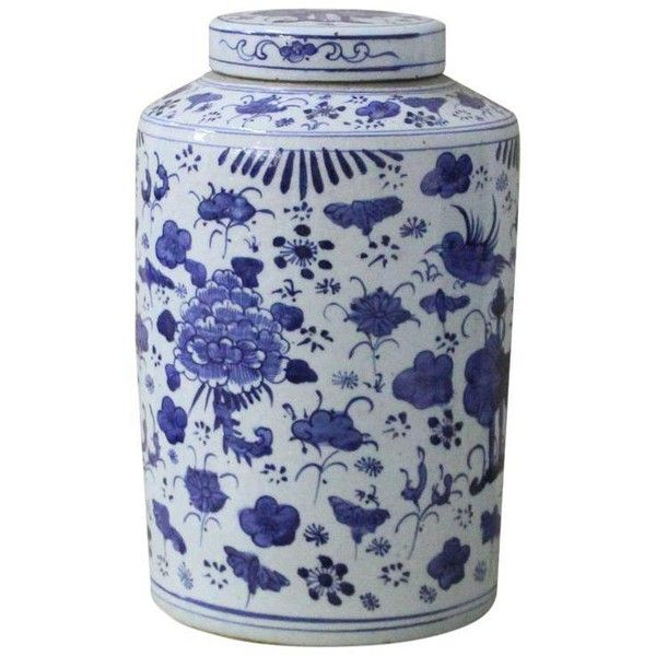 Sarreid Ltd. Transitional Blue & White Porcelain Jar ($154) ❤ liked on Polyvore featuring home, kitchen & dining, food storage containers, bottles & jars & jugs, blue white porcelain jars, porcelain jar, blue and white jars, blue and white porcelain jars and sarreid