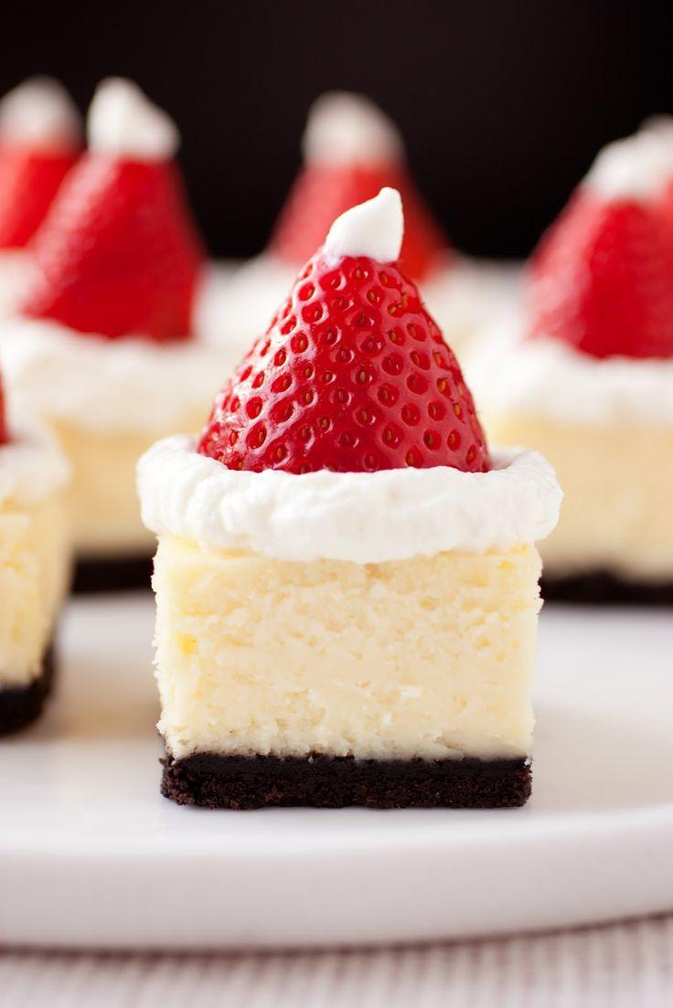 Santa Hat White Chocolate Cheesecake Bites
