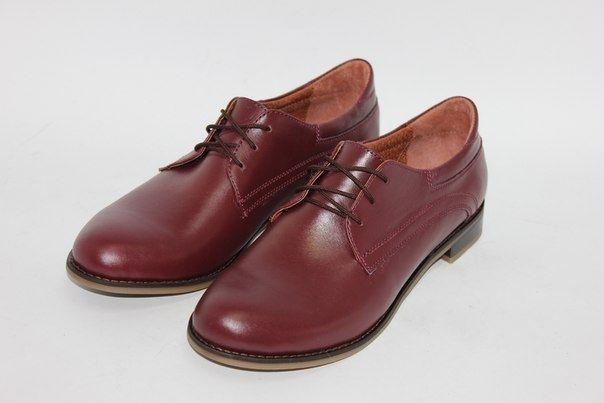 Обувь Бордовые кожаные туфли на шнуровке