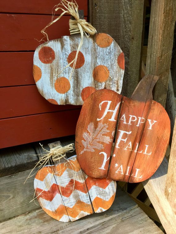 This adorable sign will be a great addition to bring that warm Fall charm to your home. Each pumpkin is individually carved from salvage wood pallets, pieced together, painted and sealed. Because each piece of wood is different from the other, they are not all going to look exactly alike and you are going to get a one of a kind! It is approximately 24 inches in height and 12 inches wide.