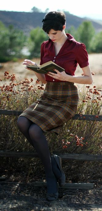 Great look for Fall: Cranberry blouse & plaid skirt.