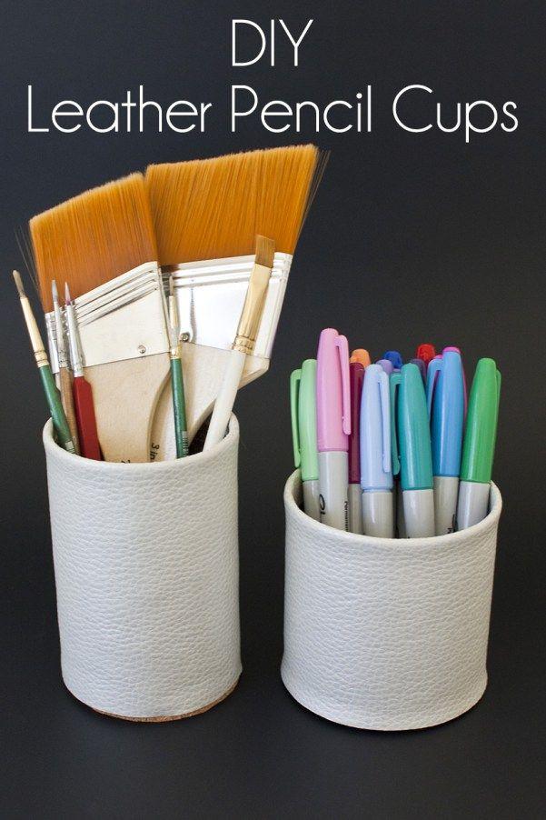 DIY leather desk organizer tutorial