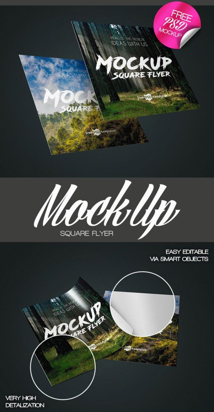 Check if you're in need of Square Flyer MockUp PSD Template to create an awesome flyer design. It's very easy to modify it to your requirements because it's fully layered and well organized. Totally FREE! So don't miss!