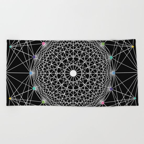 """Geometric Circle Black/White/Colour beach towel by Fimbis   ___________________________ #blackandwhite #monochrome #shower #holdiay #vaction ___________________________  Lay out like a pro with this super comfy, oversized and unique artist-designed Beach Towel. The soft polyester-microfiber front and cotton terry back are perfect for, well, drying your front and back. This design is also available as a bath and hand towel. Machine washable.  Towel Dimensions: 74""""x37"""""""
