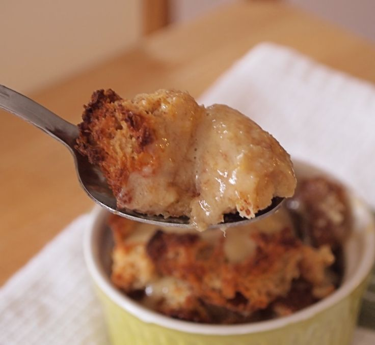 Spoonful of Baileys Bread Pudding with Whiskey Butter Sauce