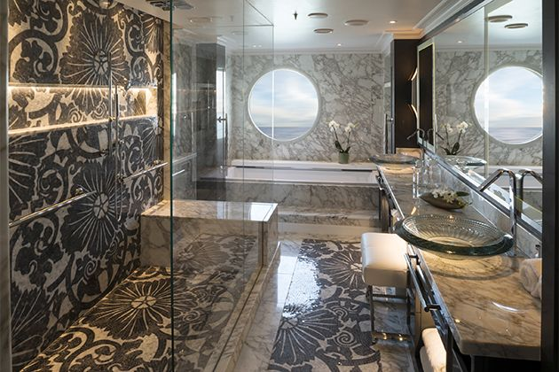 The Crystal Penthouse bathroom onboard Crystal Serenity. (Crystal Cruises)