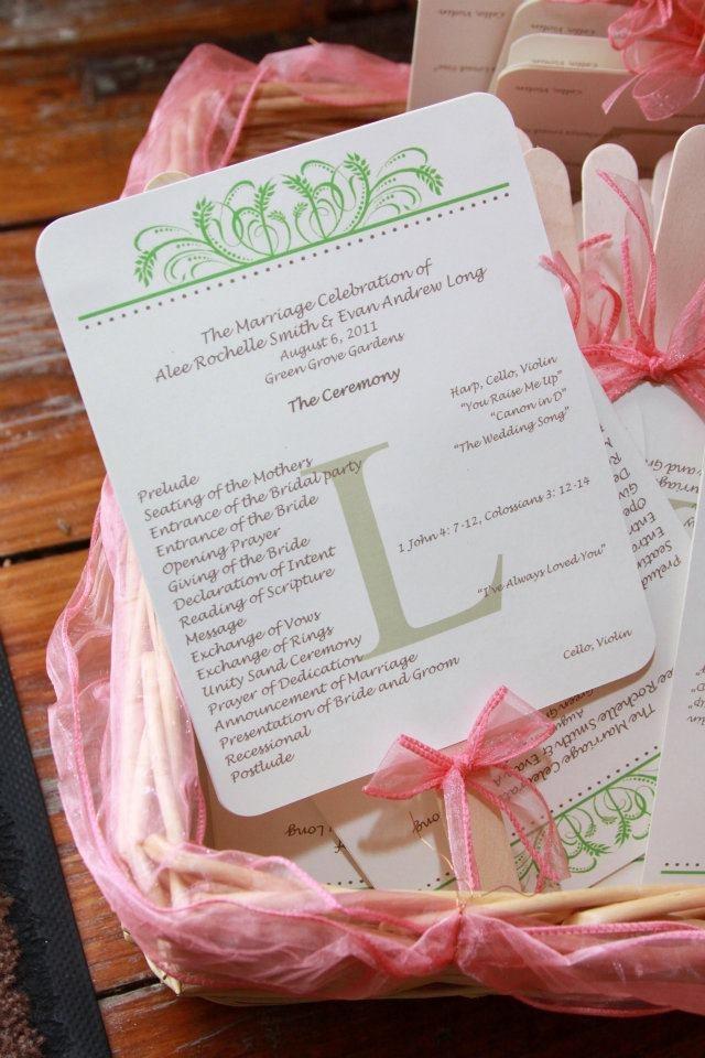 homemade wedding program fans