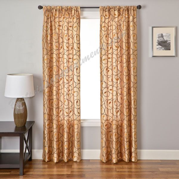 Sinhala scroll curtain panel available in 29 colors for 108 window treatments