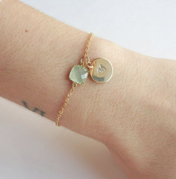 Personalized Bridesmaid Gold Initial Bracelet Bridal Party