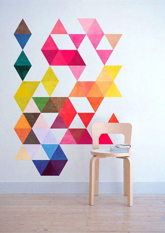 Triangoli colorati metà secolo moderno danese modernista adesivi decalcomanie - SKU:ColorTriMidModerStick
