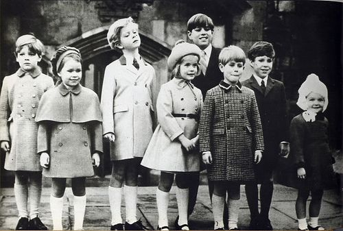 The Royal cousins from left to right: James Ogilvy, Lady Sarah Armstrong Jones, George Earl of St Andrews, Lady Helen Windsor, Prince Andrew, Prince Edward, David Viscount Linley and Marina Ogilvy