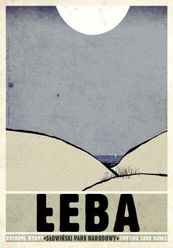 Łeba, Slowinski Park Narodowy - Polish tourist poster, designer: Ryszard Kaja 2012