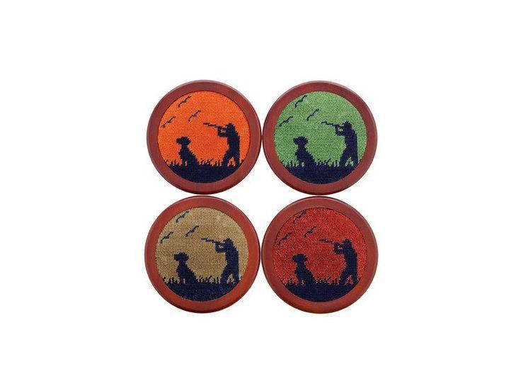Smathers & Branson, Bird Hunter Needlepoint Coaster Set