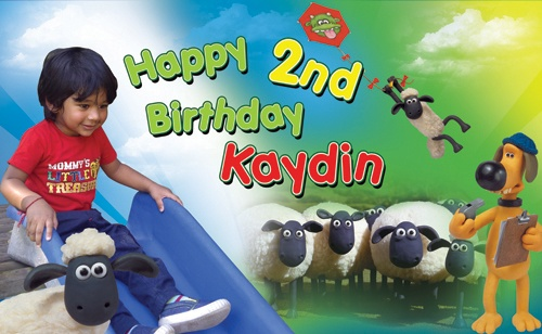 Shaun the Sheep Themed Birthday Banner.International Orders - $85.00 USD (Design Only). Email info@chameleonmedia-solutions.com
