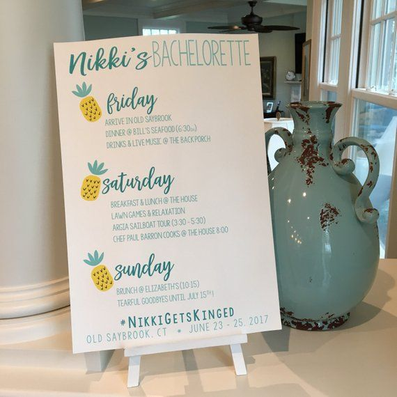 Pineapple Bachelorette Party Itinerary Sign. Beach Bach