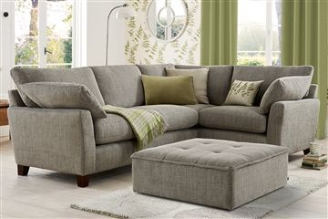Alexis corner sofa in plain weave dove - contrast with white and soft greens