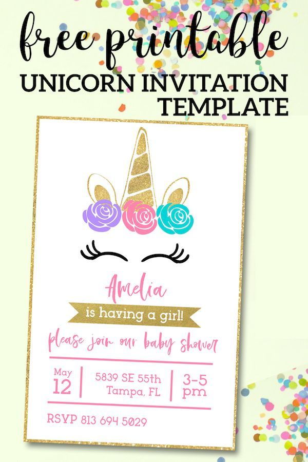 Free Printable Unicorn Invitations Template Birthday