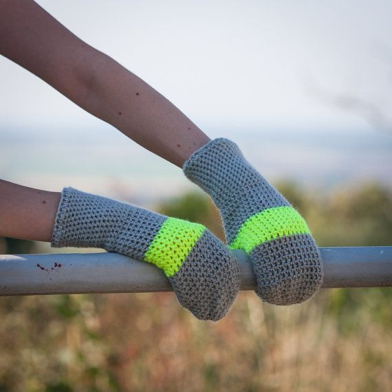 Neon Yellow Grey Winter Mittens / Grey Yellow by RUKAMIshop