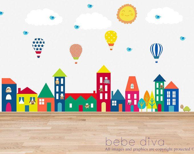 Stadt-Wandtattoo Wand Aufkleber Kinderzimmer, Baby Wall Decal, Kids Wand-Aufkleber, Wand Aufkleber Kinderzimmer, Kinderzimmer Wand Aufkleber, abnehmbar und wiederverwendbar