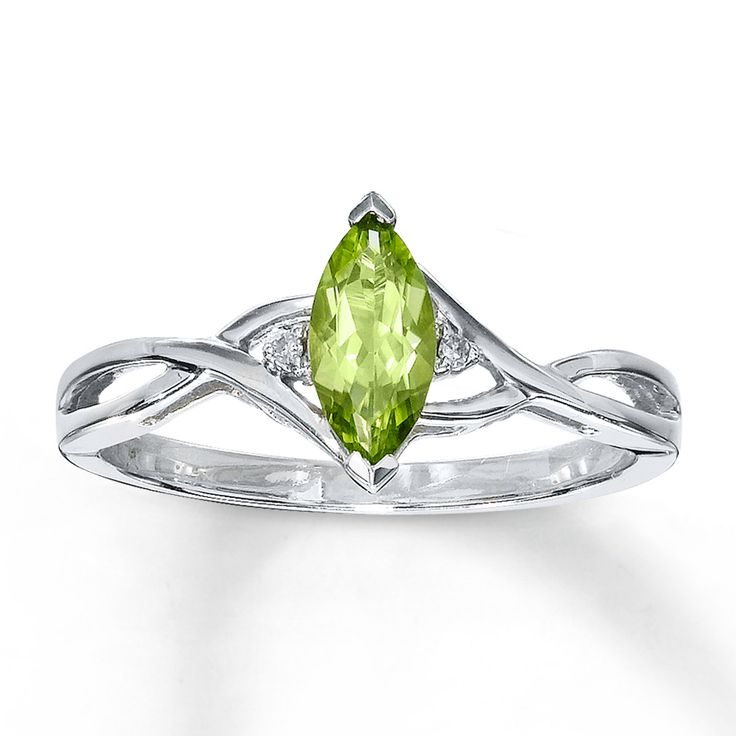 Peridot Rings | Peridot Ring Diamond Accents 10K White Gold