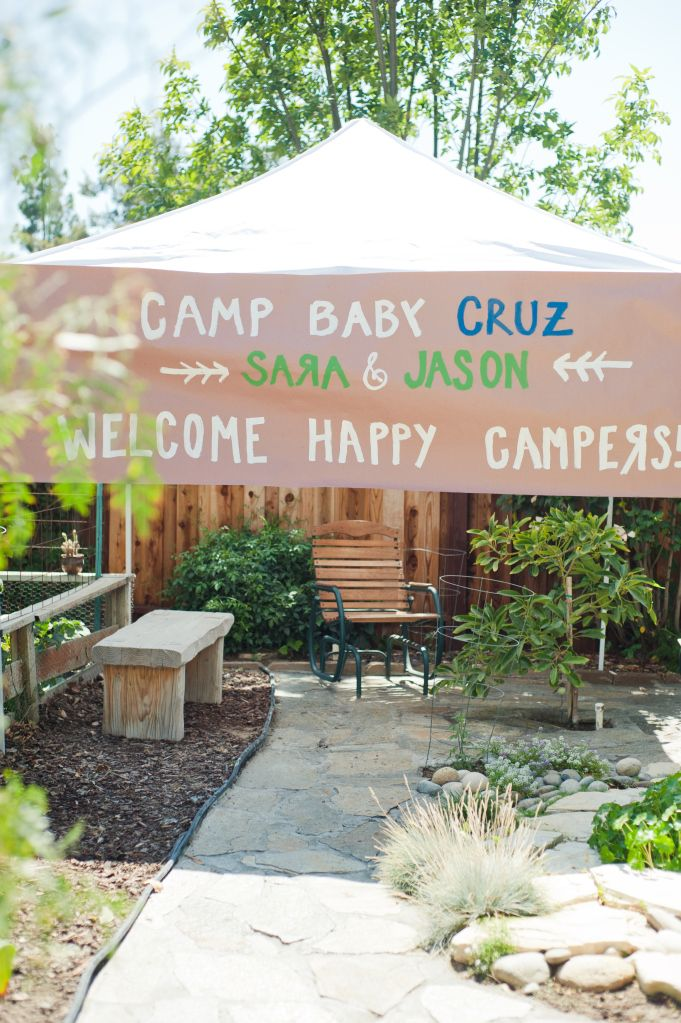 """""""Welcome Happy Camper"""" instead of Baby Kidder-Douce?  Easy to do on a roll of kraft paper, could use the rest as table runners too camping baby shower, www.christinalogandesign.com"""
