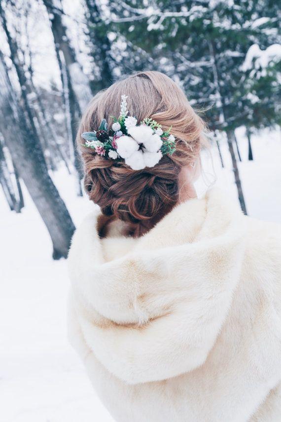 Peigne à cheveux mariage dhiver fleur mariée cromb par SERENlTY
