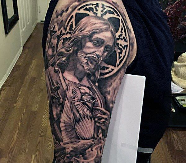 Mens Sleeves Religious Jesus With Sparkling Stone Tattoo
