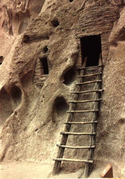 Cliff dwellings near Los Alamos. Homes of the Ancestral Pueblo People.  Bandelier National Monument. Los Alamos, New Mexico.