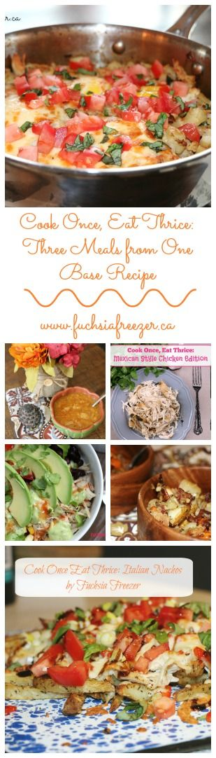 One main ingredient turned into three separate and delicious meals complete for a family of 4-6 people! Who doesn't love weeknight meals made easy? Find all of these amazing meals on www.fuchsiafreezer.ca