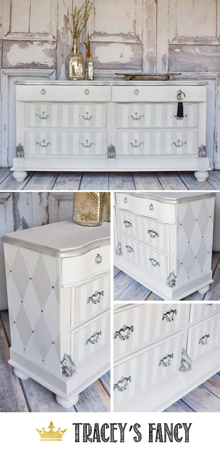 Classy & Whimsical Dresser in Painted Neutrals Striped
