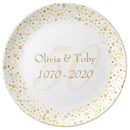 #stylish - #50th Wedding Anniversary Gold Confetti Porcelain Plate