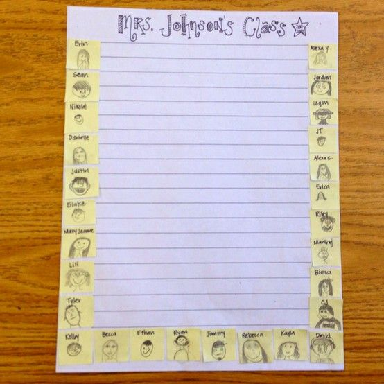 Create class stationary...give each student a small post it and have them draw their face and write their first name...then copy!