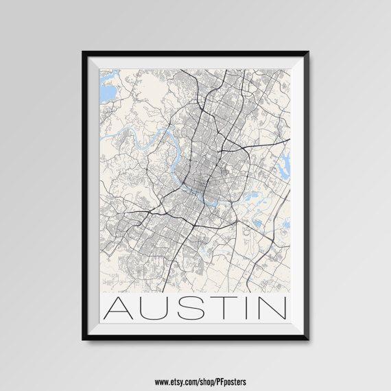 AUSTIN Map Print Modern City Poster Black and White Minimal