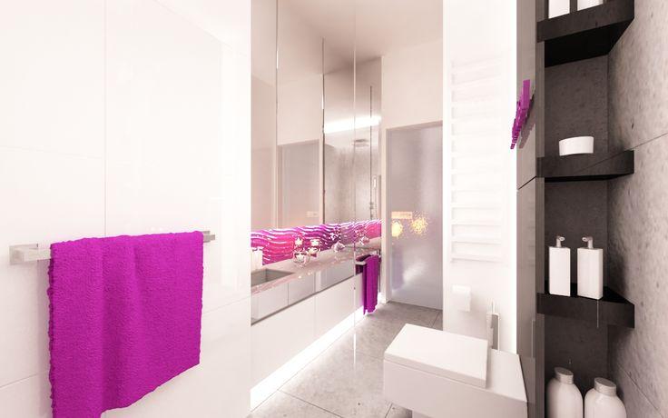 Łazienka przy sypialni . Dominują biele, szarości i czerń .Całość ożywiają amarantowe dodatki